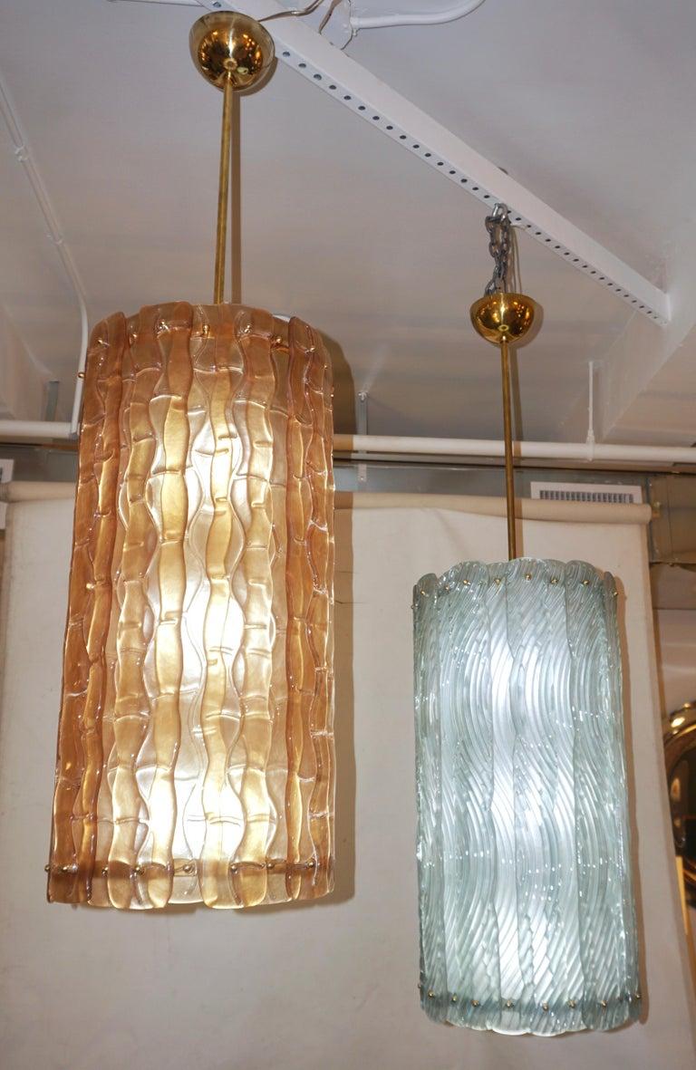 Modern Italian Aquamarine Crystal Murano Glass Tall Brass Lantern / Chandelier For Sale 1