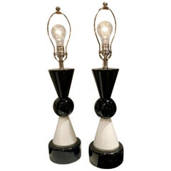 Modern Italian Art Glass Table Lamps, Pair