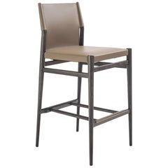 Modern Italian Bar Stool Leather and Wood, Made in Italy