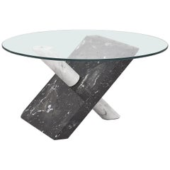 Modern Italian Black and white Marble Side Table, 1970