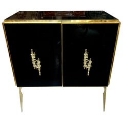 Modern Italian Black Glass and Brass Side Table