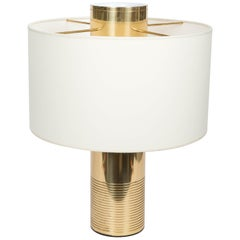 Modern Italian Brass Cylinder Table Lamp, circa 20th Century