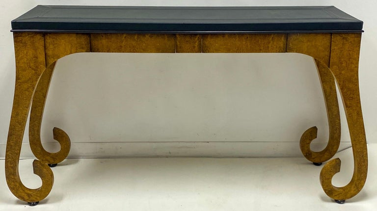 Modern Italian Burl and Leather Console Table For Sale 1