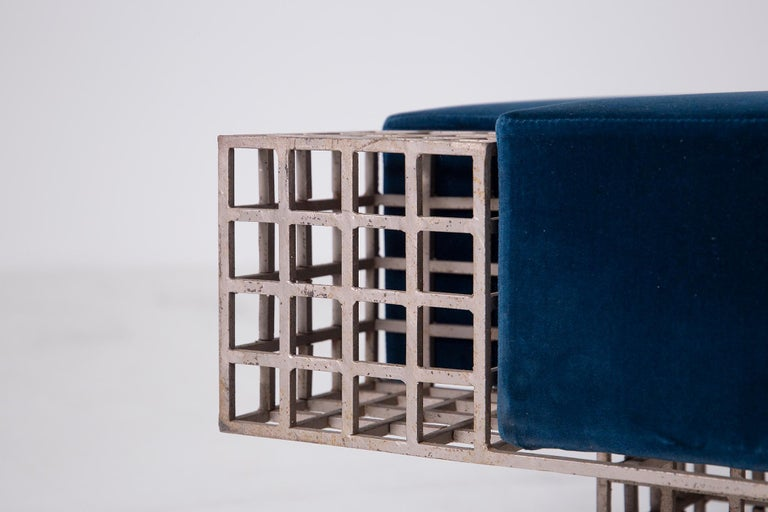Modern Italian Center Bench by Carla Sozzani in Iron and Blue Velvet, 1970s 4