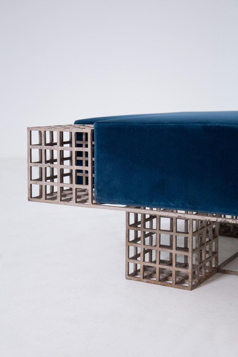 Modern Italian Center Bench by Carla Sozzani in Iron and Blue Velvet, 1970s 5