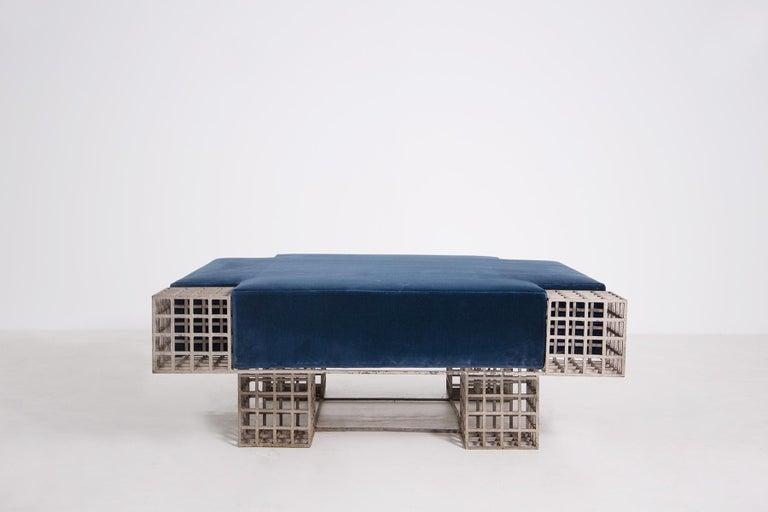 Mid-Century Modern Modern Italian Center Bench by Carla Sozzani in Iron and Blue Velvet, 1970s