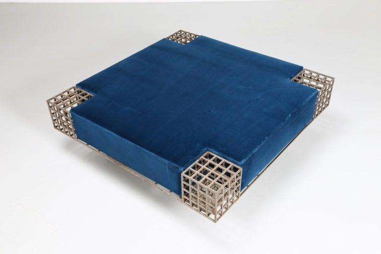 Modern Italian Center Bench by Carla Sozzani in Iron and Blue Velvet, 1970s In Good Condition In Milano, IT