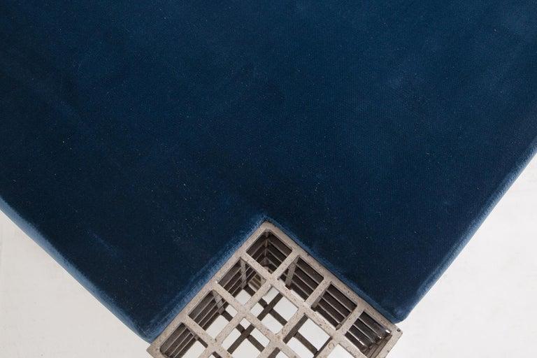Late 20th Century Modern Italian Center Bench by Carla Sozzani in Iron and Blue Velvet, 1970s