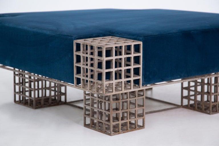 Metal Modern Italian Center Bench by Carla Sozzani in Iron and Blue Velvet, 1970s