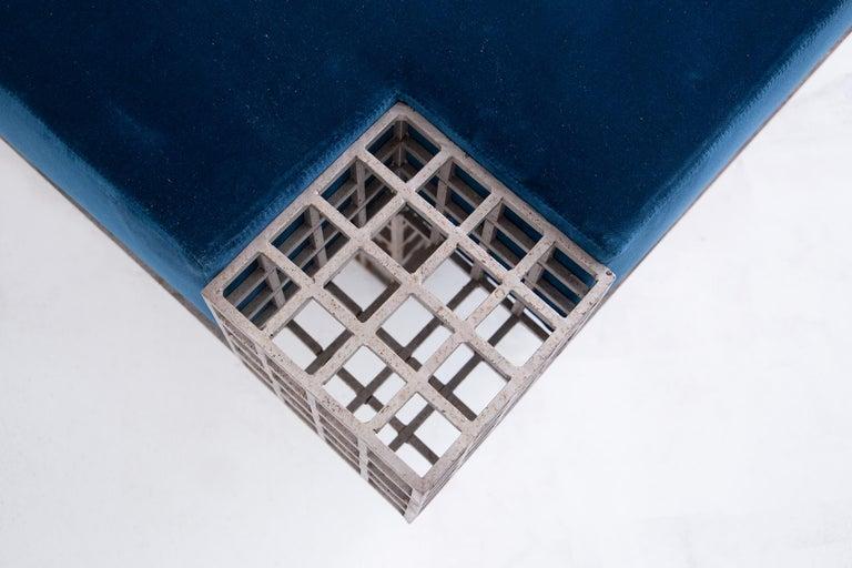 Modern Italian Center Bench by Carla Sozzani in Iron and Blue Velvet, 1970s 2
