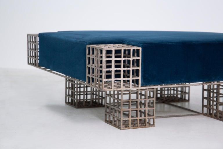 Modern Italian Center Bench by Carla Sozzani in Iron and Blue Velvet, 1970s 3