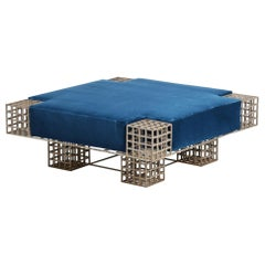 Modern Italian Center Bench by Carla Sozzani in Iron and Blue Velvet, 1970s