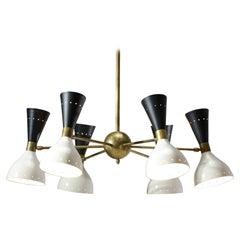 Modern Italian Chandelier in the Style of Stilnovo Vintage Design