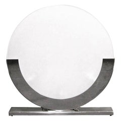 Modern Italian Design White and Chrome Round Table Lamp, 1990