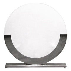 Modern Italian Design White and Chrome Round Table Lamp, 1990