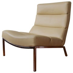 Modern Italian Designer Leather Lounge Chair with Chrome Base
