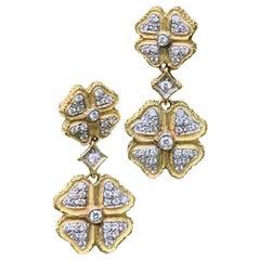 Modern Italian Diamond 4-Leaf Clover 18 Karat Gold Pierced Earrings