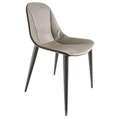 Modern Italian Dining Chair Leather and Wood, Made in Italy