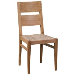 Modern Italian Durmast, Rush Seating Dining Chairs, Eight Available