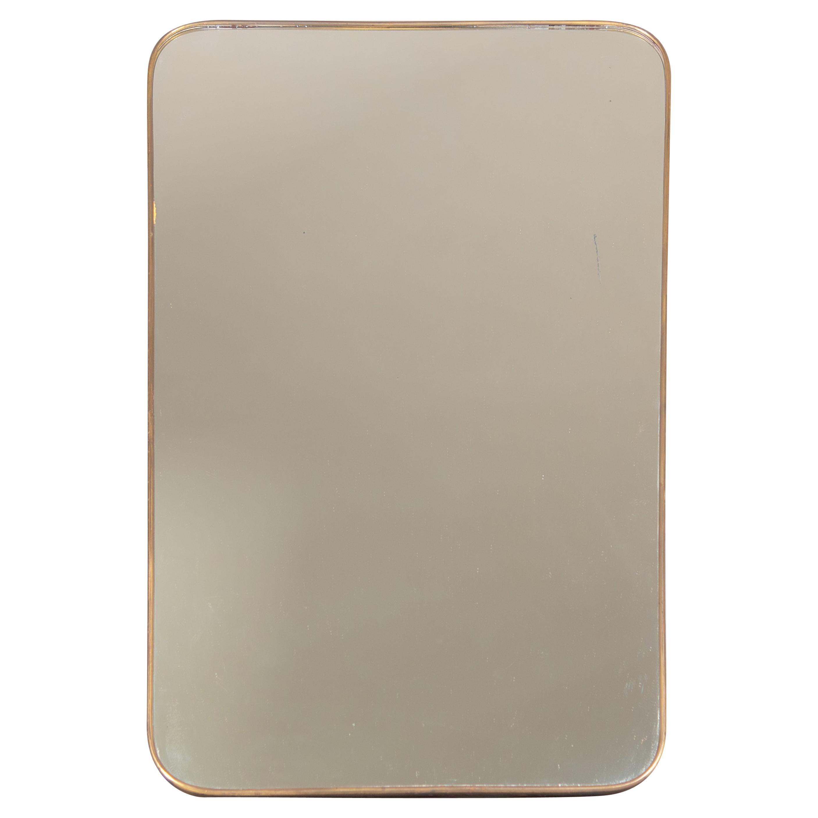 Modern Italian Gio Ponti Style Brass Mirror