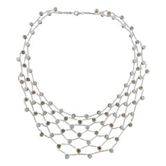 Modern Italian Gold Diamond Bib Necklace