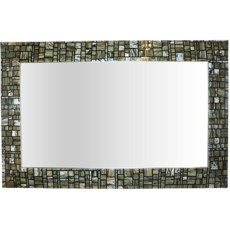 Modern Italian Green Cream Caramel White and Black Murano Glass Mosaic Mirror For Sale