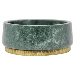 Michael Aram Green Marble and Brass Footed Bowl