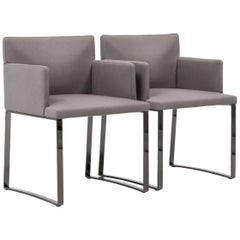 Minotti by Rodolfo Dordoni Modern Grey Wool Dining Chairs, Set of 2