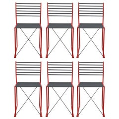 Modern Italian Ladder Back Coral Colored Set of 6 Dining Chairs