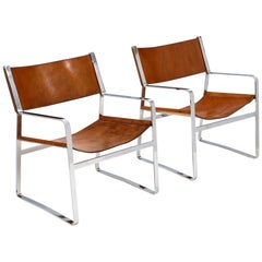 Modern Italian Leather and Chrome Armchairs