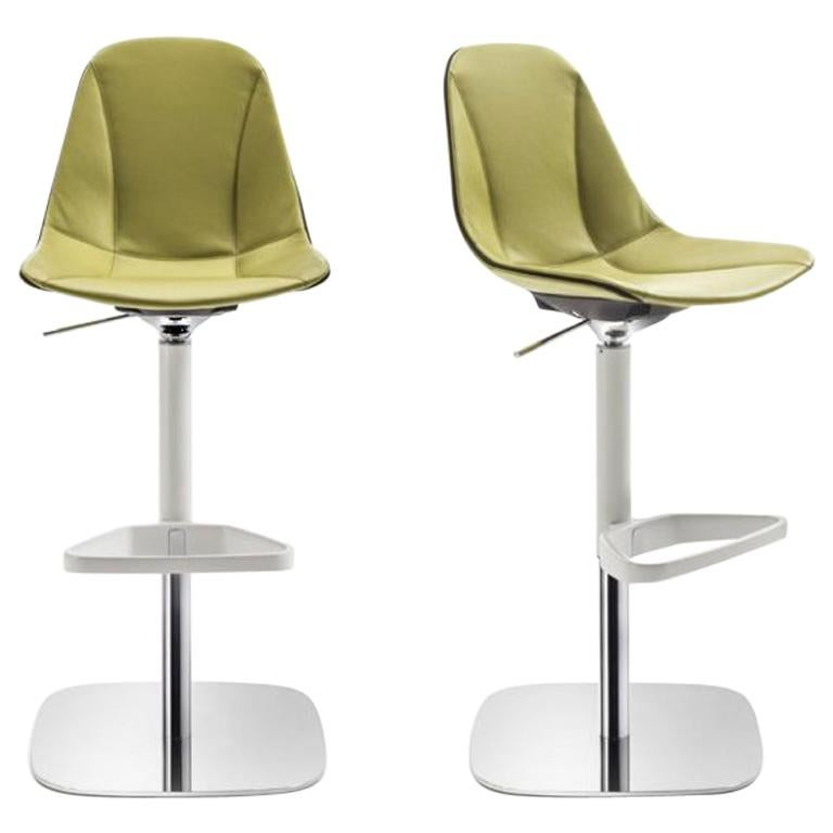 Modern Italian Leather Bar Stool Adjule And Swivel