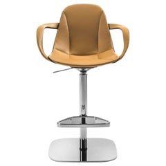 Modern Italian Leather Bar Stool with Armrests