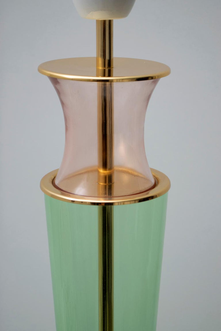 Modern Italian Murano Brass and Blown Glass Table Lamp, 1980s For Sale 5