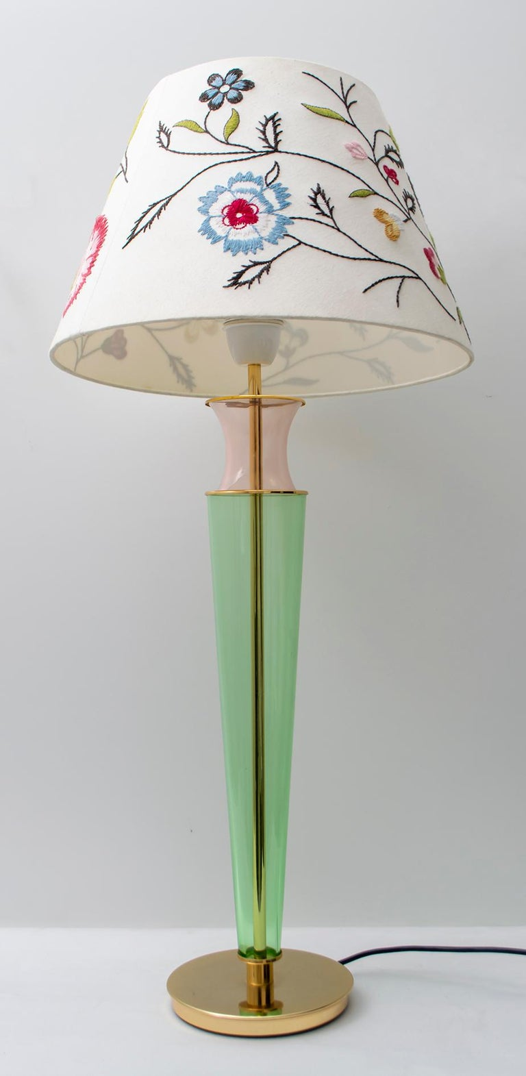 Modern Italian Murano Brass and Blown Glass Table Lamp, 1980s For Sale 1