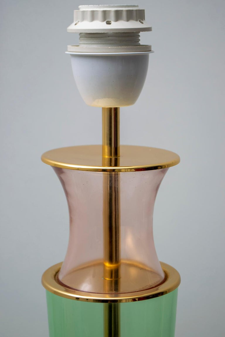 Modern Italian Murano Brass and Blown Glass Table Lamp, 1980s For Sale 4