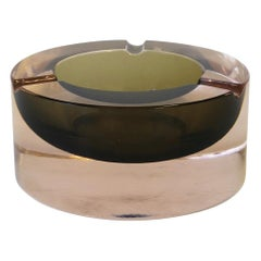 Modern Italian Murano Pink and Grey Sommerso Art Glass Bowl or Ashtray