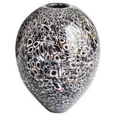 Modern Italian Murrine Murano Glass Vase in Black-White-Brown by Paolo Crepax