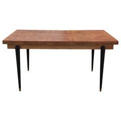 Modern Italian Natural Satinwood Restored Extending Dining Table / Desk