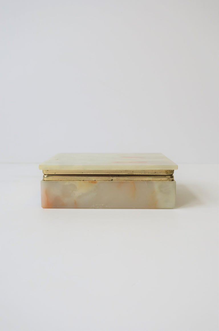 Plated Modern Italian Onyx Marble Jewelry Box For Sale