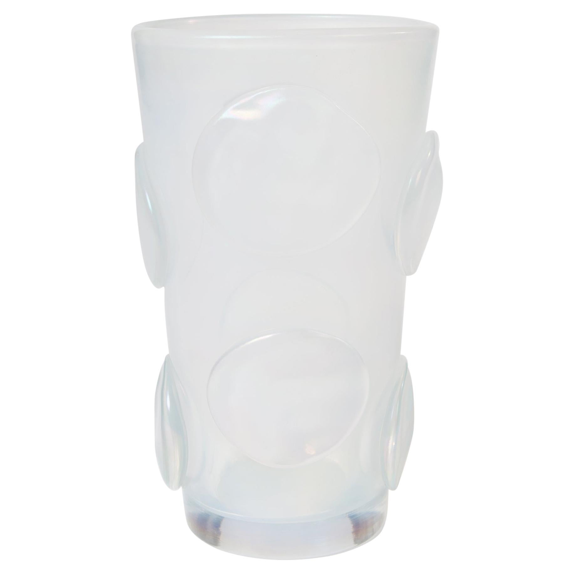 Modern Italian Opalescent Murano Glass Vase with Applications by Pino Signoretto