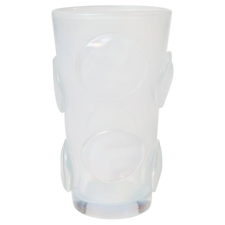 Modern Italian Opalescent Murano Glass Vase with Applications by Pino Signoretto For Sale