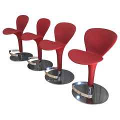 Modern Italian Red Bar Stools Oslo Freeform by Tonin Casa, Set of Four