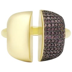 Modern Italian Rococo Baroque Style Yellow Gold 14 Karat Statement Ring for Her