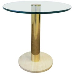 Modern Italian Round Brass, Glass and Marble Side Table by Pace, circa 1970s