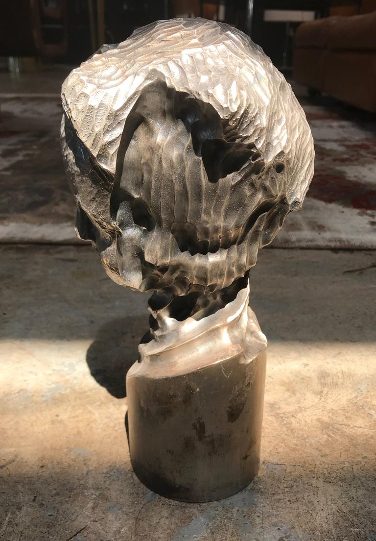 Modern Italian Sculpture Sterling Silver Child Portrait, 1970s In Good Condition For Sale In Los Angeles, CA