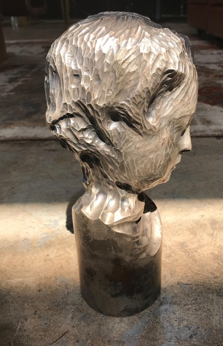 Modern Italian Sculpture Sterling Silver Child Portrait, 1970s For Sale 1