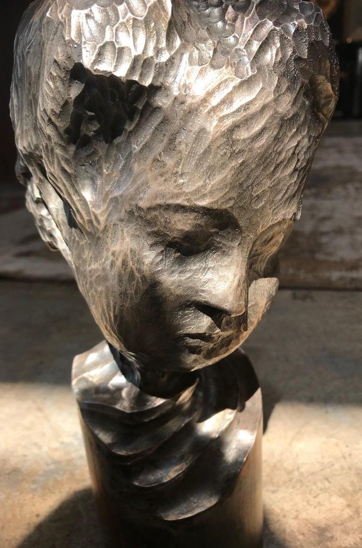 Modern Italian Sculpture Sterling Silver Child Portrait, 1970s For Sale 3
