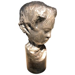 Modern Italian Sculpture Sterling Silver Child Portrait, 1970s