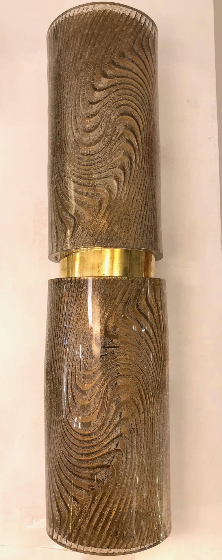 Mid-Century Modern Modern Italian Smoked Frosted Murano Glass and Brass Wall / Ceiling Lights For Sale