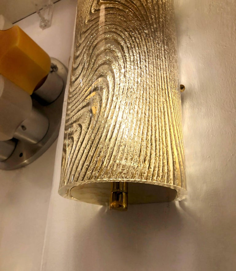 Modern Italian Smoked Frosted Murano Glass and Brass Wall / Ceiling Lights In Excellent Condition For Sale In New York, NY